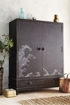 Nami Armoire by Tracey Boyd Unique Furniture, Accent Furniture, Painted Furniture, Home Furniture, Furniture Design, Hutch Furniture, Painted Armoire, Asian Furniture, Furniture Projects