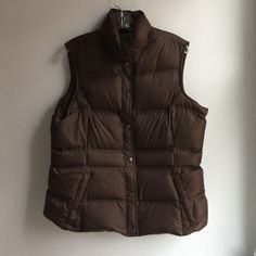 Lands' End Down/Feather Vest - with pockets!!! Lands' End women's vest insulated with 80% Down/20% Feather , 2-pockets, brown Lands' End Jackets & Coats Vests