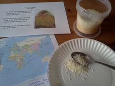 Hunger Prayer Station. Look at the map and see places in the world where people are dying of hunger.