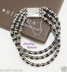 Silpada-Three-strand-Hematite-Bracelet-925-Sterling-Silver-B0618-RARE