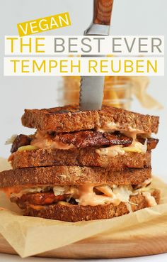 can substitute tempeh with other vegan options.This Vegan Tempeh Reuben is made with marinated and grilled tempeh, homemade Russian Dressing, and seeded rye bread for a classic sandwich. Vegan Sandwich Recipes, Vegan Dinner Recipes, Delicious Vegan Recipes, Whole Food Recipes, Tempeh Recipes Vegan, Vegetarian Meals, Jackfruit Recipes, Vegetarian Sandwiches, Vegan Recipes