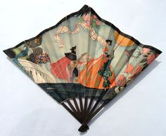 Antique Art Deco Fan Fächer eventail publicitaire GRAND MAGASINS DU LOUVRE 1927