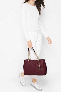 de162772891d NWT Michael Kors Susannah Large Quilted-Leather Tote Shoulder Bag in Merlot   MichaelMichaelKors