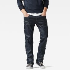 G Star Raw Attacc Straight Jeans AUD220 The Attacc jeans is defined by its rugged back pockets. One features a half-concealed zip.