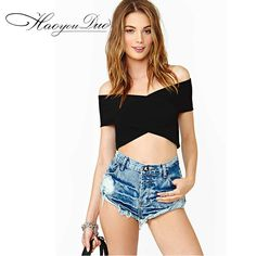 2015 Summer new off shoulder Backless Zipper publicize midriff Short Sleeve Wrapped Chest Ultrashort Crop Top tops t shirt women-in T-Shirts from Women's Clothing & Accessories on Aliexpress.com | Alibaba Group