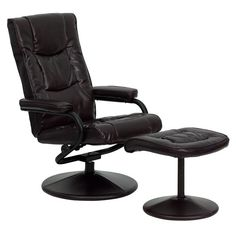 Flash Furniture BT 703 MASS BN GG Massaging Brown Leather Recliner