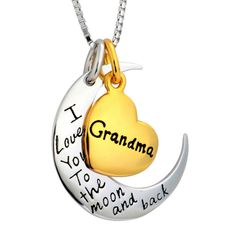 Love Your Grandma to the Moon and Back? We will send her an I Love You to the Moon and Back Grandma Necklace. Comes with a Metal Chain! Send it from You or Anonymously! Compass Necklace, Back Necklace, Box Chain, Metal Chain, Love Gifts, Unique Gifts, Grandma Necklace, I Love You, My Love