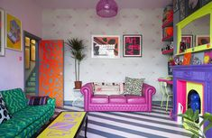 Tour of Wallpaper Designers Quirk & Rescue London Home Home Decor Styles, Home Decor Accessories, Estilo Color Block, Punk Decor, Colorful Apartment, Colourful Home, Neon Room, Sofa Colors, London Apartment