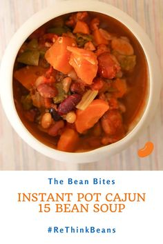 This spicy cajun style 15 bean soup recipe brings the flavors of the Bayou home. It's an easy-to-make, no soak recipe for the Instant Pot that is perfect for a cold winter night or a summer BBQ.