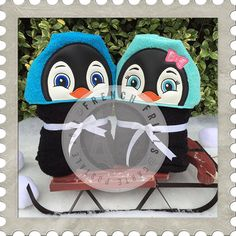 Penguin Boy & Girl hooded towel designs. #Embroidery #Applique
