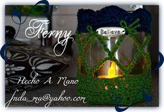 311 Frasco para Vela - Believe Candel Jar Frasco para Vela con funda tejida a Crocet Crochet detail for Candel Jar #HechoAMano #HandMade