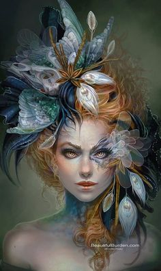 """The Duchess"" - Jennifer Healy {contemporary figurative art blonde-hair female head fantasy woman face portrait surreal illustration artwork}"