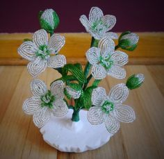 French Beaded Flowers - White