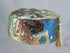 Handmade Smoking Cap - Lounging Hat - Crazy Patchwork Pure Silk Multiple Colours Plus Embroidery Beads Etc.