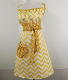Woman's Full Kitsch Apron-Gold Chevron 83 by Barb70CraftShop (Accessories, Apron, Full, barb70craftshop, women, home and living, womans apron, gift ideas, womens apron, gift for mom, mothers day apron, kitchen apron, womans full apron, special occasion, kitsch apron, chevron apron)