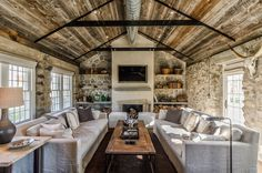 Rustic living rooms are full of charm and warmth, as a great space for entertaining and spending time with family, a rustic fireplace would be a perfect focal point. Description from onekindesign.com. I searched for this on bing.com/images
