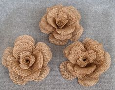 "3 Large 5"" Burlap Flower - Rustic Wedding Decoration, Craft Projects, Home and Special Occasion Decoration by Agitasworks on Etsy https://www.etsy.com/listing/161425420/3-large-5-burlap-flower-rustic-wedding"
