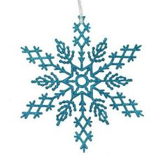 2 Turquoise Blue Glitter Commercial Size Snowflake Christmas Ornaments 16""