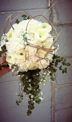 Fun boho chic wedding bouquet white green country  cascading  carnations and ranunculus