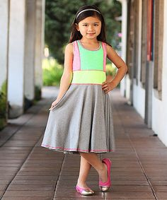 Look what I found on #zulily! Gray & Neon Green Color Block Dress - Girls by Me & Ko #zulilyfinds