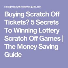 Win Lottery: Lottery Dominator - Buying Scratch Off Tickets? 5 Secrets To Winning Lottery Scratch Off Games Winning Lottery Numbers, Lotto Numbers, Lottery Winner, Winning The Lottery, Lotto Winners, Lottery Strategy, Lottery Tips, Lottery Games, Lotto Tickets
