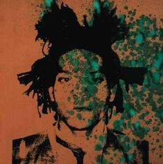 Warhol's portrait of Basquiat (1982), one of his piss paintings, on canvases prepared with copper paint that was then oxidized with urine.