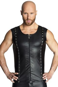Men`s sleeveless shirt made from a wet-look fabric with studded and rings applications along two front vertical lines and zipper in the middle. Eco Clothing, Clothing Items, Body Dessous, Men's Leather Jacket, Sleeveless Shirt, Clubwear, Sexy, Athletic Tank Tops, Black Leather