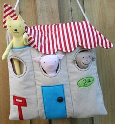 House bag---Oh my gosh!!! How cute and easy to make ---love the pin stripe roof flap.