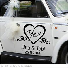 Autoaufkleber Hochzeit - Yes mit Namen und Datum