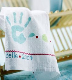 Lend a hand in the kitchen with this handprint dishcloth Mom will love. Using finger paint, make a handprint on cardstock and cut out to make a stencil. Lightly spray the back of the stencil with adhesive, attach the stencil to a towel, and paint the handprint with a mixture of craft paints and textile medium (this turns ordinary acrylic paint into textile paint that will be permanent on most fabrics). Use fabric markers to add polka dots and your name to the towel.