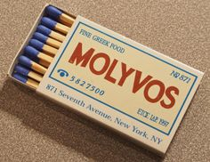 MOLYVOS Greek Taverna, NYC. Circa 1999. Japanese produced BX3A 18 stick #matchbox. Pic. by Joe Danon. To order your business' own branded #matchboxes go to: www.GetMatches.com