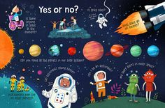 Peter Donnelly Illustration - Questions & Answers about Space! Cute Kids Photography, Funny Photography, Children's Book Illustration, Character Illustration, Space Books, Buch Design, Magazines For Kids, Book Design Layout, Childrens Books