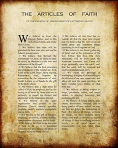 Printable vintage Articles of Faith {stake conference challenge - recite the articles of faith to yourself before you go to sleep.  L. Tom Perry does it!}