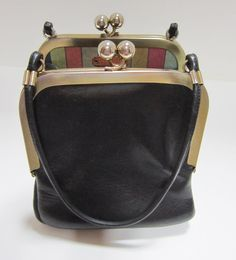Vintage Bonnie Cashin For Coach Black Leather Double Kiss Lock Purse With Mexican Stripe Lining
