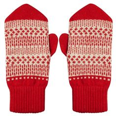 Donna Wilson Dash Dot Pointy Mitts in red Red Mittens, Knit Mittens, Knitted Gloves, Hipster Outfits, Cute Outfits, Knitting Accessories, Fashion Accessories, Dash And Dot, Fingerless Mittens