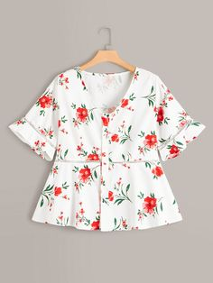 Plus Button Front Floral Print Ruffle Hem Blouse Plus Size Winter Outfits, Plus Size Fashion For Women, Plus Size Outfits, Plus Size Women, Plus Size Blouses, Plus Size Tops, Plus Size Dresses, Romwe, Fashion News