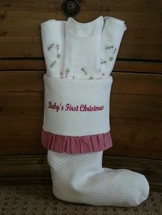 """White Matelasse with Red Gingham Ruffle Christmas Stocking Personalized with  """"Baby's First Christmas""""  by Sweet William Fine Baby Bedding,  Etc."""
