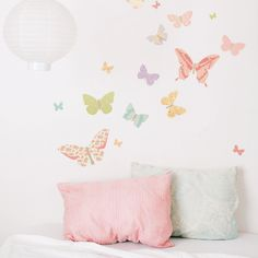 Wall Decals Butterflies (Reusable and removable fabric stickers, not vinyl) - Butterflies (girly). $45.00, via Etsy.