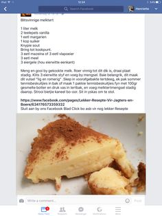 Blitsvinnige Melktert Tart Recipes, Sweet Recipes, Baking Recipes, Yummy Recipes, Kos, Milktart Recipe, Rusk Recipe, Easy Desserts, Dessert Recipes
