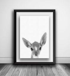 Rabbit Print Nursery Rabbit Wall Art by AnnasDigitalArtDeco Art Wall Kids, Wall Art, Woodland Nursery Decor, Deer Print, Printable Art, Printables, Baby Deer, Animal Nursery, Poster On