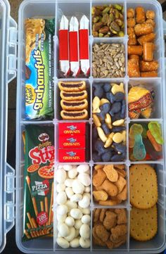 Kids snack box great until it spills road trip snacks, lunch snacks Auto Snacks, Lunch Snacks, Healthy Travel Snacks, Lunches, Kids Snack Box, Toddler Snacks, Road Trip Essen, Baby Food Recipes, Snack Recipes