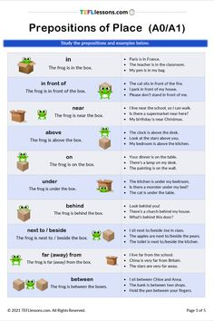 This FREE Prepositions of Place lesson includes language focus and various practice exercises. Click through to register and download the PDF#EnglishGrammar #PrepositionsofPlace #FreeEnglishLesson #teachenglish #learnenglish #tesol #tesl #tefl #elt #esl #efl #teachingenglish #TEFLtimesavers #englishhandouts English Verbs, English Grammar, Teaching English, Learn English, English Language, Free English Lessons, Online Lessons, Teacher Notes, Prepositions