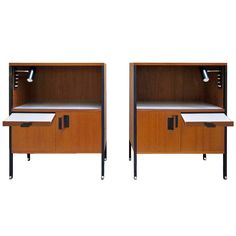 Pair Of Ico Parisi More Furniture And Collectibles - Bedside Tables Italian Teak, Metal