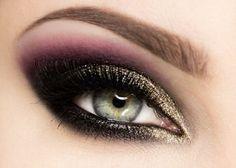 Makijaż wieczorowy - Fiolet i Złoty Brokat