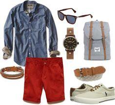 Bermuda Vermelha + Camisa Denim para Verão
