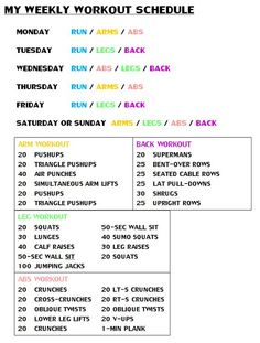 Weekly WorkOut Schedule: