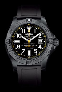 """Breitling Announces New Avenger Seawolf Blacksteel Code Yellow Watch - via """"From the Source"""""""