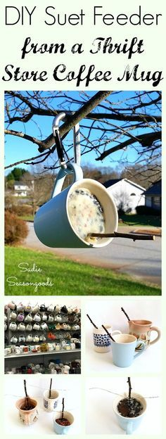 How to Make Homemade Bird Suet for a Suet Feeder in a Coffee Mug - DIY: Repurposed - Create a simple, effective suet bird feeder for your yard this winter by repurposing a thrift store - Outdoor Projects, Garden Projects, Craft Projects, Kids Garden Crafts, Project Ideas, Suet Bird Feeder, Bird House Feeder, Hanging Bird Feeders, Teacup Bird Feeders