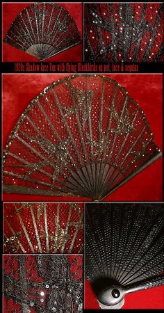 BLACKBIRDS flying with fan lace Shadow RARE 1920s