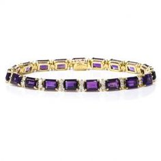 Vintage La Triomphe Oversized Amethyst Diamond Yellow Gold Link Bracelet  #vintagejewelry #amethyst #diamonds #bracelet #consignment